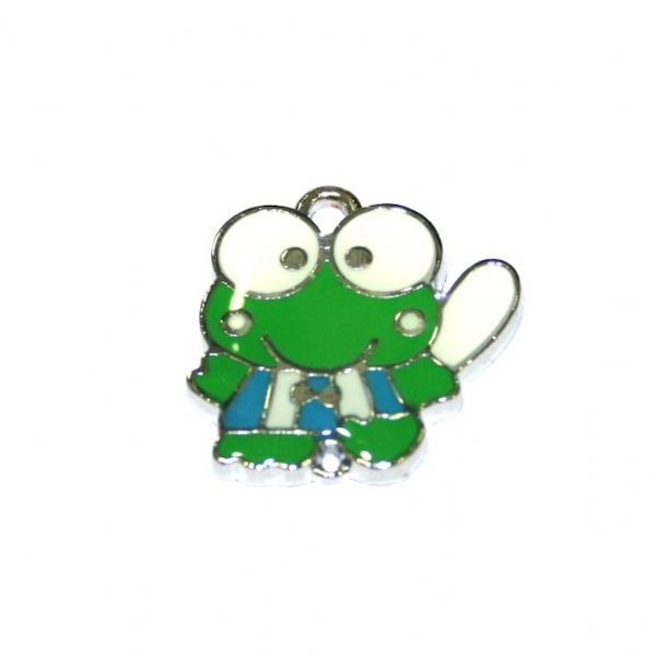 1pce x 19*18mm green frog with light blue belt enamel charm - S.D03 - CHE1115